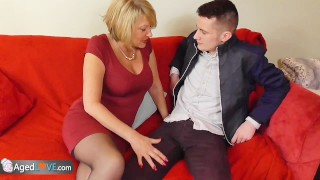 Young guy with big dick fucks his new sexy mature landlady
