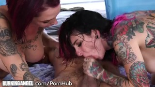 Emo Step-Sisters Double Team a Cock Teenager step