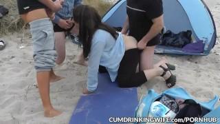 Beach Gangbang With Hot Slutwife