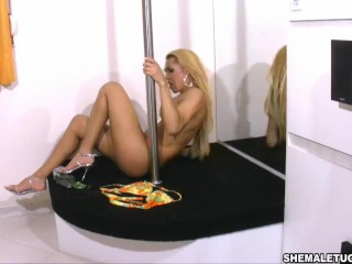 Paola Lima masturbation off big cock in Blonde Girl Pole Dancer