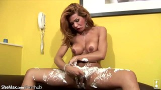 Around big shaved her shemale freshly bigtitted swings cock tranny messy