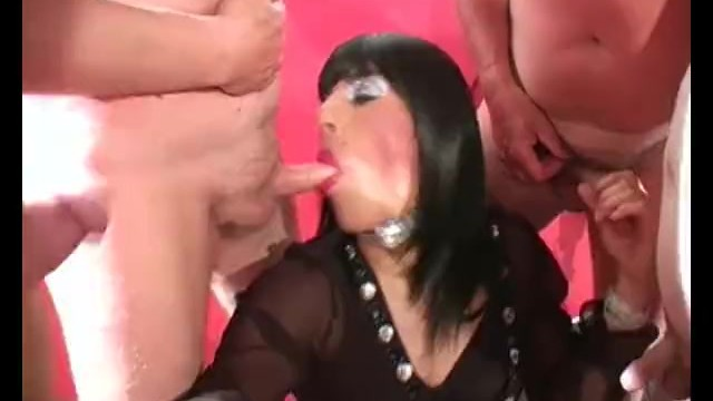 Crossdresser cum load cocksucker Horny crossdresser slut has group bukkake party with loads of spunking cock