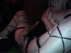 Hot milf masturbates solo orgasms watching porn