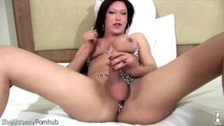 Brunette shegirl enjoys pumping her shecock before cumshot