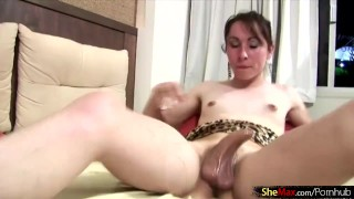 Wicked t-babe glues her hand to big cock with honey and cums