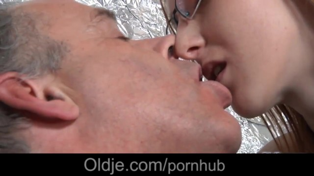 Freckled Redhead With Glasses Making Blowjob To Older Guy -9844