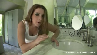 Natasha Nice washes her feet for the camera