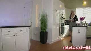 StepMom Julia Ann Fucks Stepson in Ass!  big tits pegging strapon femdom mom blonde kitchen toys milf kink rough juliaannlive mother big boobs female domination step mom fake tits
