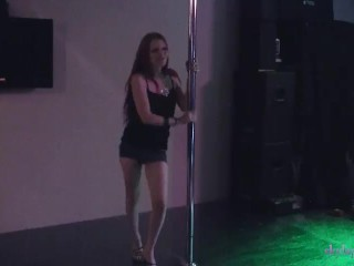 Skyla Pink strip dancing stripper pole dance with pussy flash