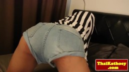 Amateur tugging ladyboy has a toy in her ass