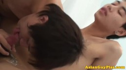 Asian pissing twinks showering in pee