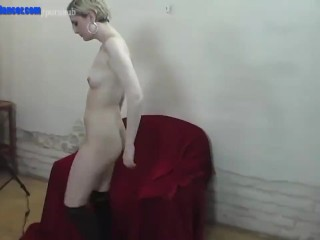 Wild amatuer chick shows striptease and masturbation