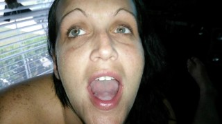 MILF DEEPTHROATING COCK AND SWALLOWING CUM