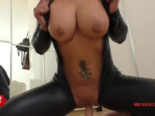 Teen Pore Tube German Redhead JolyneJoy played so dirty in a Catsuit