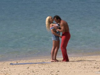 Jemstone gets screwed on a beach before getting a pearl necklace