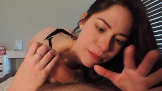 Morning blowjob from BF blowjob big-cock babe girl tight underwear cumshot natural-tits tattoo big-boobs cock-sucking roommate brunette Pov Blowjob point-of-view