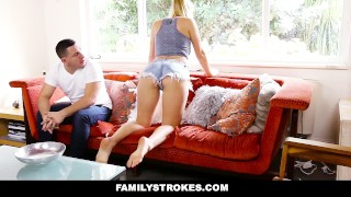 Family Strokes - Creepy Brother Stalks and Fucks Step-Sister Curvy blowjob