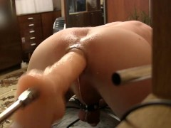 Huge dildo fuck-Machine skewer my ass, Doggy Style (D6)