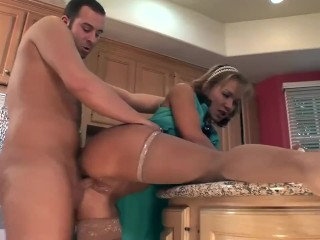 Busty house wife Nikki bound and fucked in sexy nude stockings and a bra
