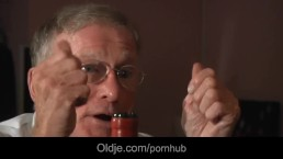 Nasty brunette strips for old man and than takes his big old dick in doggie