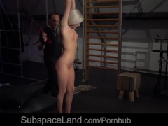 Exciting moaning from slave fixed and vibed in awesome bondage rope art