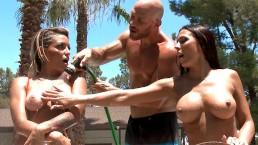 Sexual Paradise: Rachel Starr & Kissa Sins Poolside Threesome