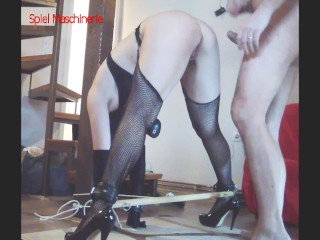 Bounded slave slut fucked from behind screaming while cumming