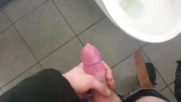 POV jerkin off in piblic toilet,cum on floor: fan requested