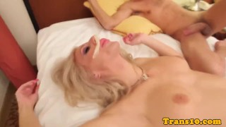 Analplaying transsexual pounded in her ass