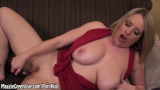 Dildo green busty with maggie cums glass blonde masturbate trimmed