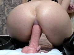 Extreme big anal dildo fucking gaping asshole