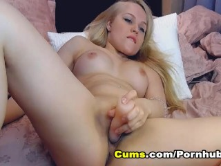 Hot College Babe Strips and Masturbates