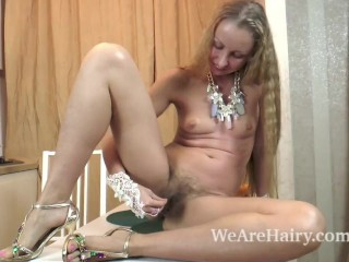 Julia strips naked in her kitchen after breakfast