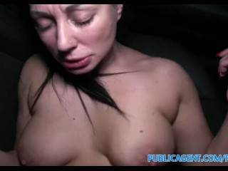 PublicAgent Busty babe fucked on the backseat