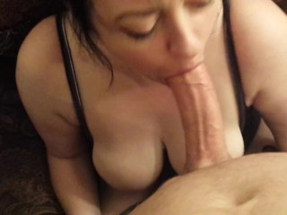 Russian Mlf BUSTY WIFE DEEPTHROAT BLOWJOB GAGGING FOR HUGE FACIAL CUMSHOT POV