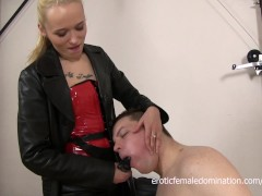 Slave Sucks His Mistress's Big Strap-on