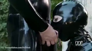 Latex Goddess Demolished With Rubber Cock  latex lucy houseoftaboo outdoors domination kink barefeet flogging latex whip big boobs rough sex swallowing deep throat garden