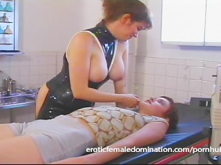 Dominatrix works hard to find out what her slave's pain threshold is