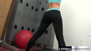 Step-sister forces her step-brother for a Blowjob at the gym
