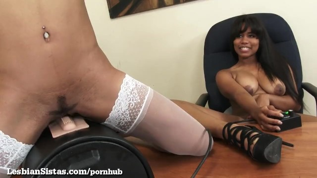 Sybian sex clips Black girls ride a sybian at the office