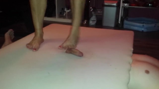 Toenails and tits - Hard barefeet cockcrush with cruel big feet and red toenails