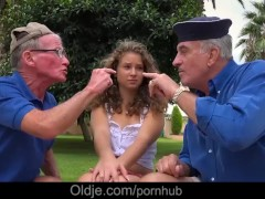 Cutie curly Bunny Babe handling two old cock with brio