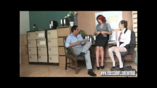 Horny blonde slut fucks office hunk on desk with hot young PA babe watching Brunette latina