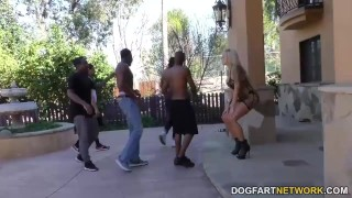 Nina Elle gets gangbanged by black guys