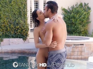 FantasyHD - Ashley Adams hot anal and creampie by the pool