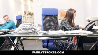 FamilyStrokes - Part Time Step Daughter Becomes Full-Time Slut  step dad step daughter hd cfnm cumshot office smalltits brunette familystrokes shaved facialize bigcock facial clothed sex bambi brooks step father
