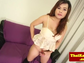 Posing amateur ladyboy with bigtits tugging