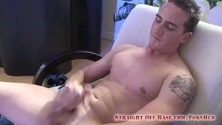 Navy Sailor Stroking His Cock Straight Off Base