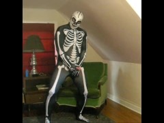 Spandex skeleton with skeleton lucha libre mask edging