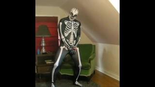 色情管 - 斯潘德克斯弹性纤维骨架,带有骨架Lucha自由面具边缘